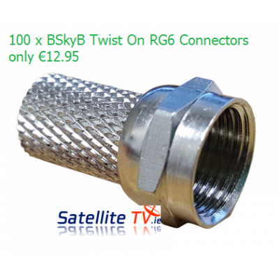 100 x BSkyB RG6 F-Connectors - Twist On