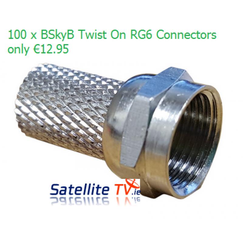 100 x RG6 F-Connectors - Twist On