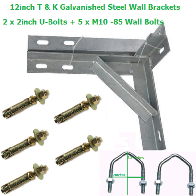 12 inch T + K Galvanished Steel Wall Brackets + 2 U-Bolts + 5 Wall Bolts