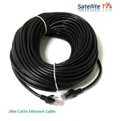 20m CAT 5E Network Lead RJ45 BLACK -  20m Ethernet Patch Cable