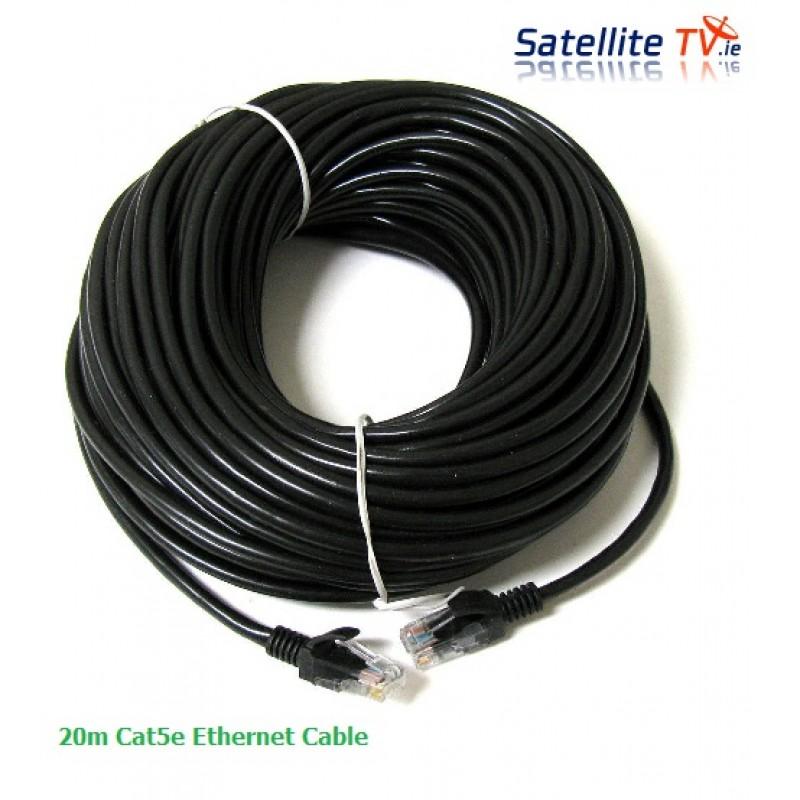 20m CAT 5E Network Lead RJ45 BLACK -  20m Ethernet Patch Cable