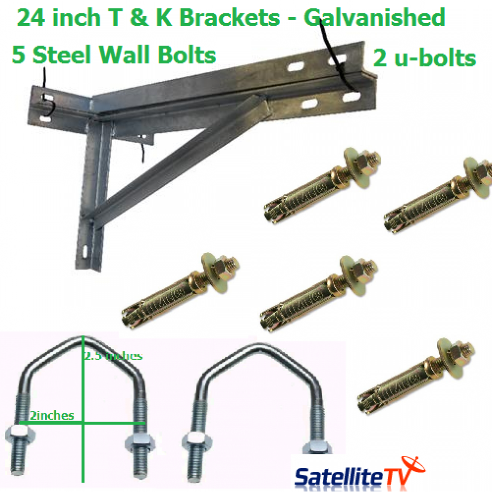 24 Inch T K Galvanished Steel Wall Brackets 2 U Bolts