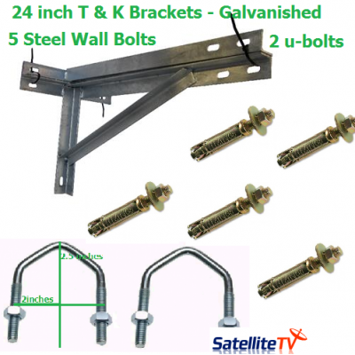 24 inch T + K Galvanished Steel Wall Brackets + 2 U-Bolts + 5 Wall Bolts