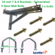 24 inch T + K Galvanished Steel Wall Brackets + 2 U-Bolts + 5 Wall Bolts