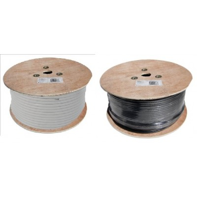 250m Roll of RG6 Satellite Cable in Black or White