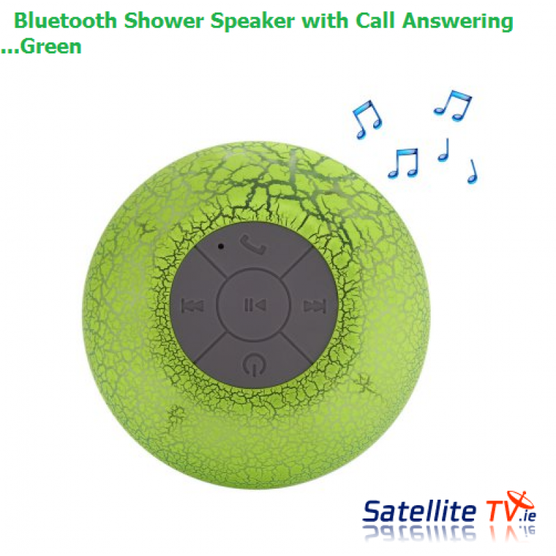 Bluetooth Shower Speaker - Green - Hands-free Call / 400mAh Lithium-ion Battery / Lamp Colour Change