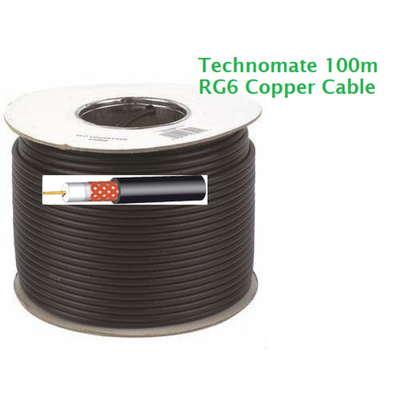 100m Roll of RG6 Satellite cable - Black