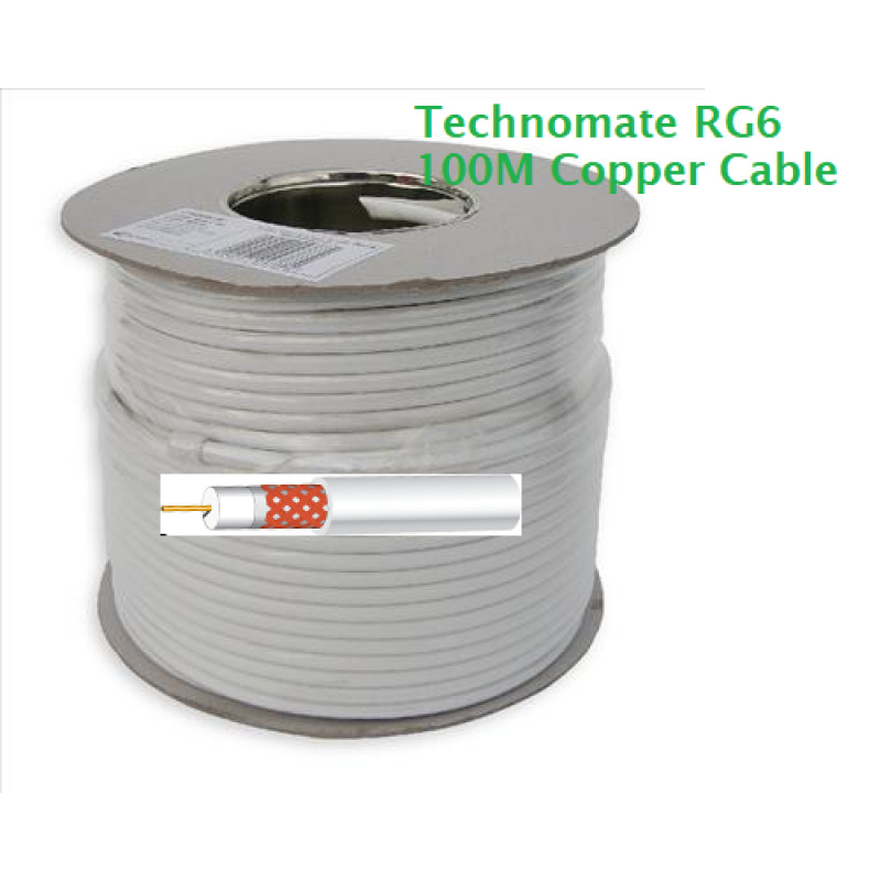 100m Roll of RG6 Satellite cable - White