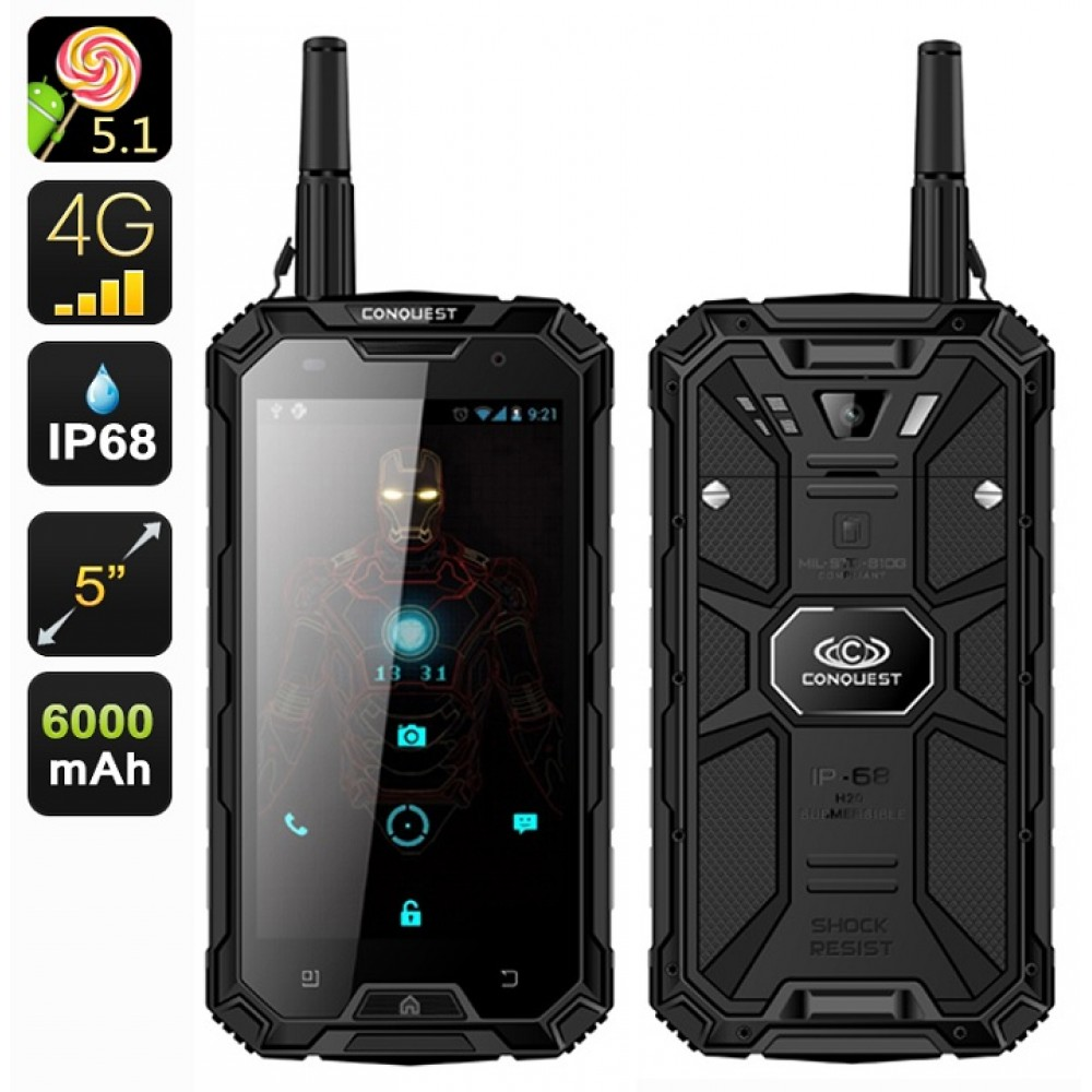 conquest s8 pro military grade rugged smartphone ip68 waterproof dustproof shockproof. Black Bedroom Furniture Sets. Home Design Ideas