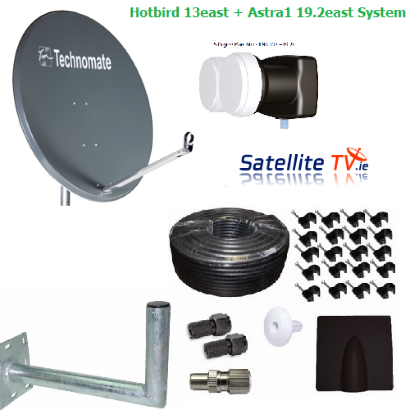 Hotbird and Astra1 Fixed Dish Complete Package