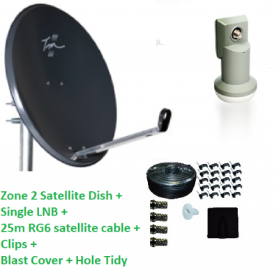 Technomate Zone 2 Satellite Dish + Single LNB + 25m RG6 Cable