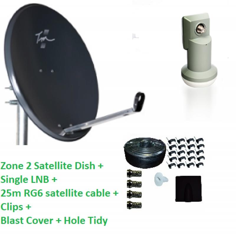 Technomate Zone 2 Satellite Dish + Single LNB + 25m RG6 Cable