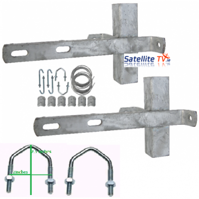 Double Chimney Bracket Kit Galvanised 11""