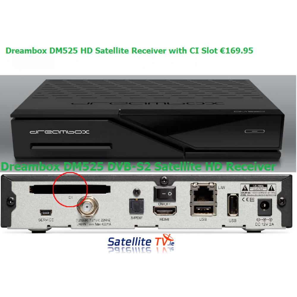 dreambox dm525 hd dvb s2 ci satellite receiver satellite tv ireland. Black Bedroom Furniture Sets. Home Design Ideas