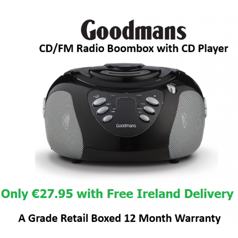 FM Radio - Goodmans GPS02BLK Boombox FM with CD Player - Refurbished - Grade A