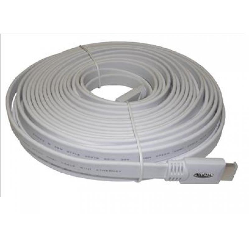 15m Flat White HDMI Cable V2.0 2160P / 3D