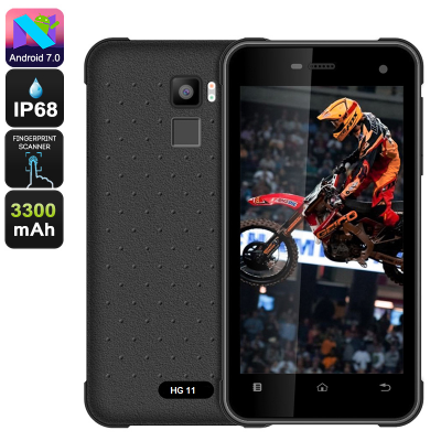 HG11 Rugged 5inch 4G Quad Core 2 SIMS - IP68 Android Smartphone, Waterproof, Dustproof and Shockproof