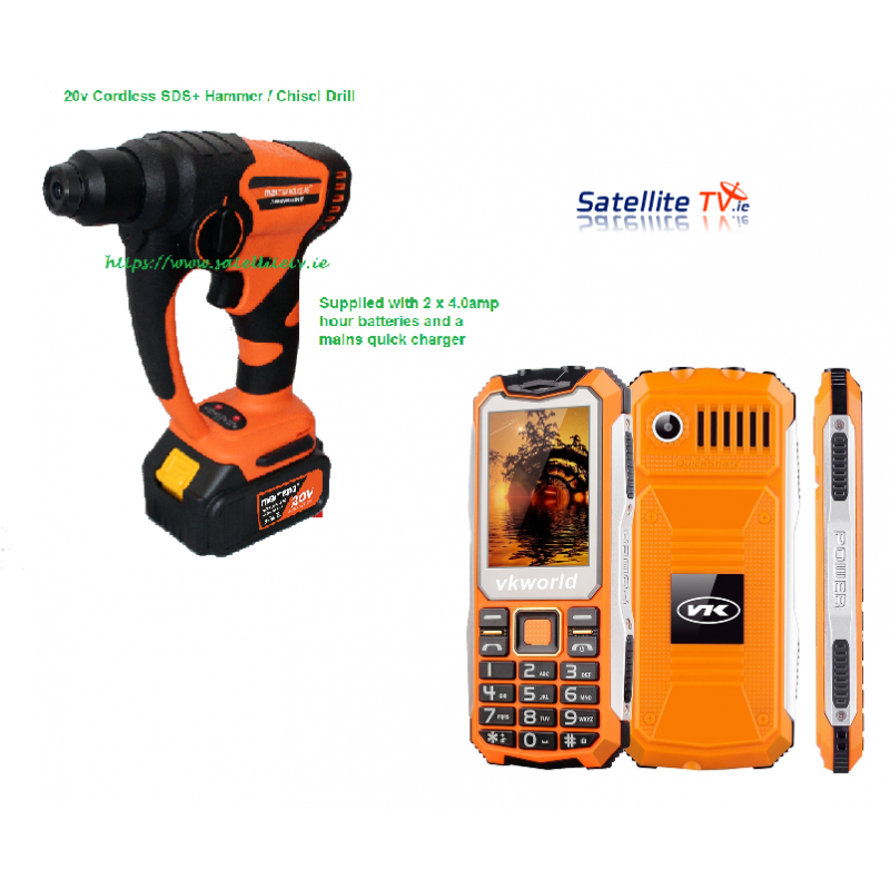 Gift Bundle 2 ( 20V SDS Plus Cordless Drill + Rugged Builders Phone )