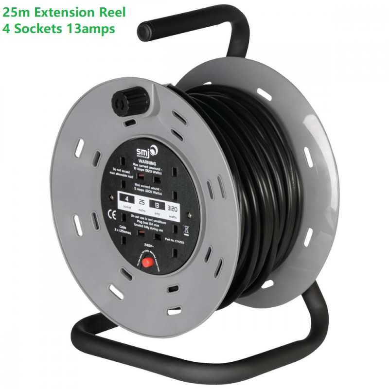 SMJ 25m Extension Reel - 4 Sockets