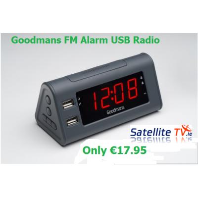 FM Radio + Alarm Clock + 2 x USB Sockets