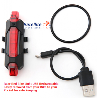 Water Resistant USB Rechargeable LED Bike Rear Light RED