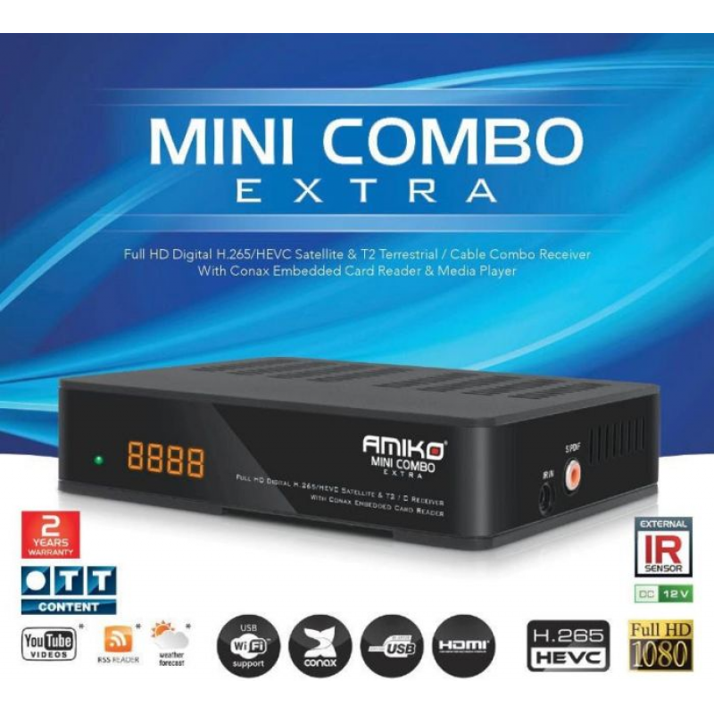 Amiko Combo Extra HD Receiver Saorview, Cable TV and Satellite
