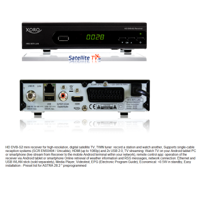 Xoro HRS 8670 Sat Receiver + LAN Streaming - Latest Model