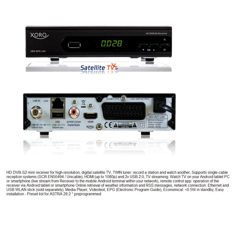 Xoro HRS 8670 Sat Receiver + LAN Streaming - Latest Model