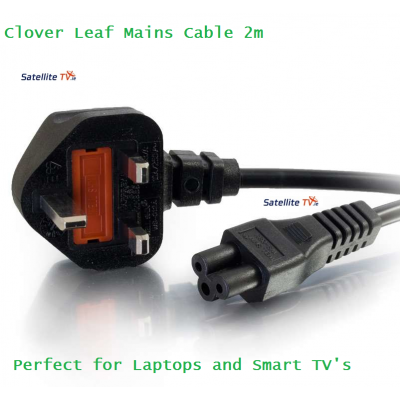 Clover Leaf Mains Cable 2m - Black