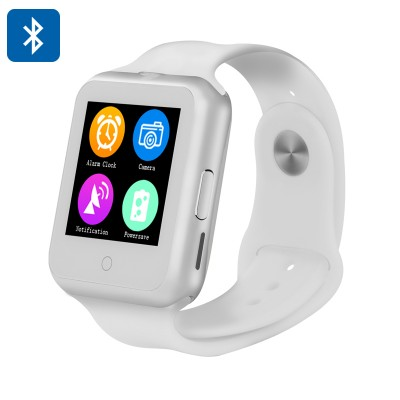 Bluetooth Smart Watch Phone - 1.44 Inch Touchscreen, Quad Band GSM, Heart Rate Monitor, Pedometer, Sleep Monitor (White)