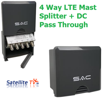 4 Way LTE Masthead/Outdoor Splitter + DC Pass Through
