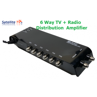 6 Way Indoor UHF TV / DAB Radio Amplifier