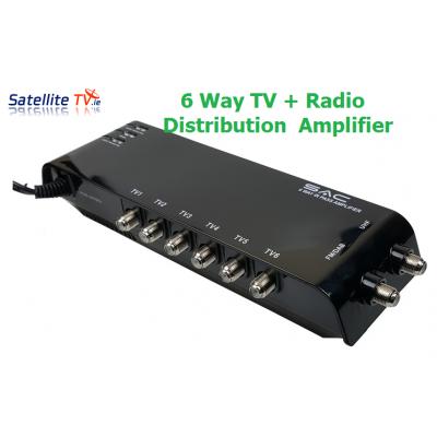 6 Way Indoor UHF TV / DAB Radio Amplifier