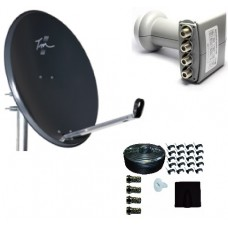 Technomate Zone 2 Satellite Dish + Quad LNB + 25m Twin Cable Kit