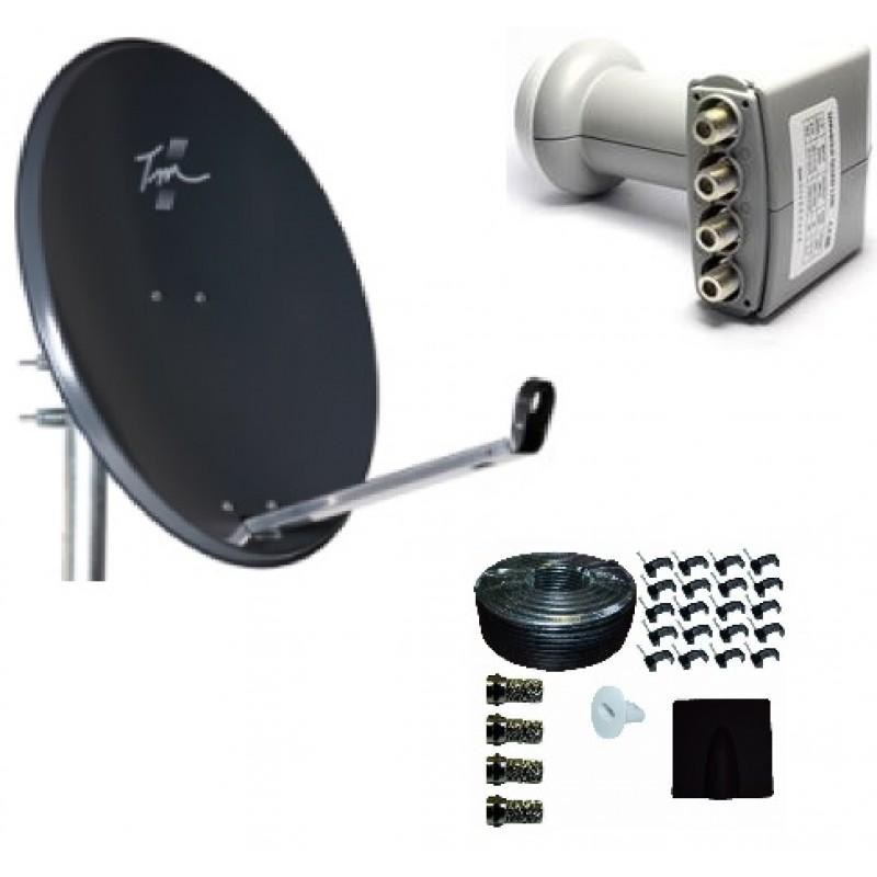 Technomate Zone 2 Satellite Dish + Quad LNB + 25m Twin Cable Kit