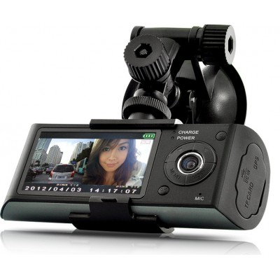 Twin Camera Dash Cam with DVR + GPS Logger and G-Sensor