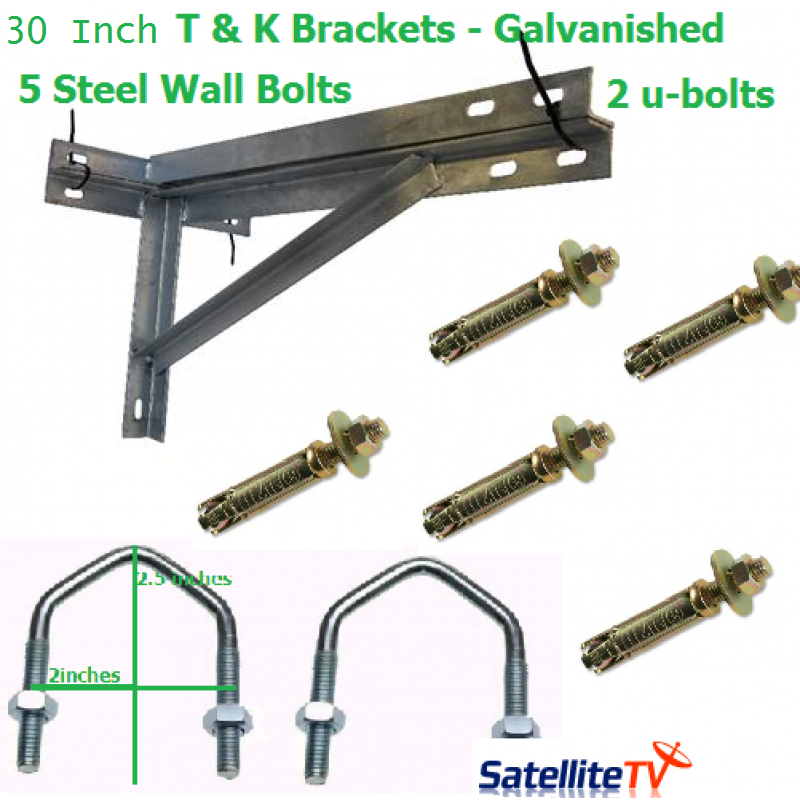 30 inch T + K Galvanished Steel Wall Brackets + 2 U-Bolts + 5 Wall Bolts